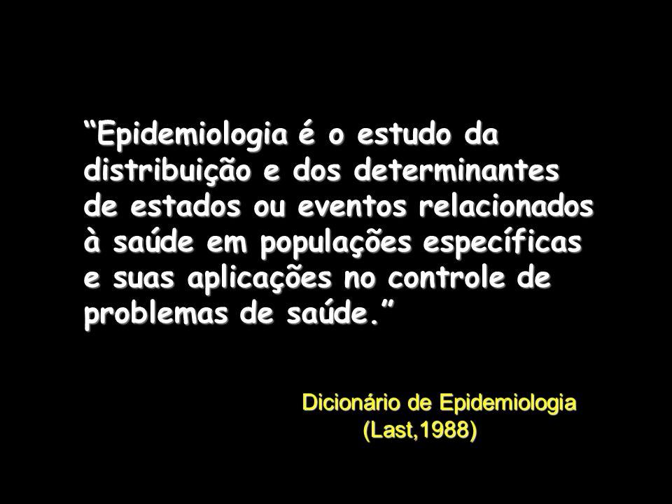 Epidemiologia é o estudo da distribuição e dos determinantes de estados ou eventos relacionados à saúde em populações específicas e suas aplicações no controle de problemas de saúde.