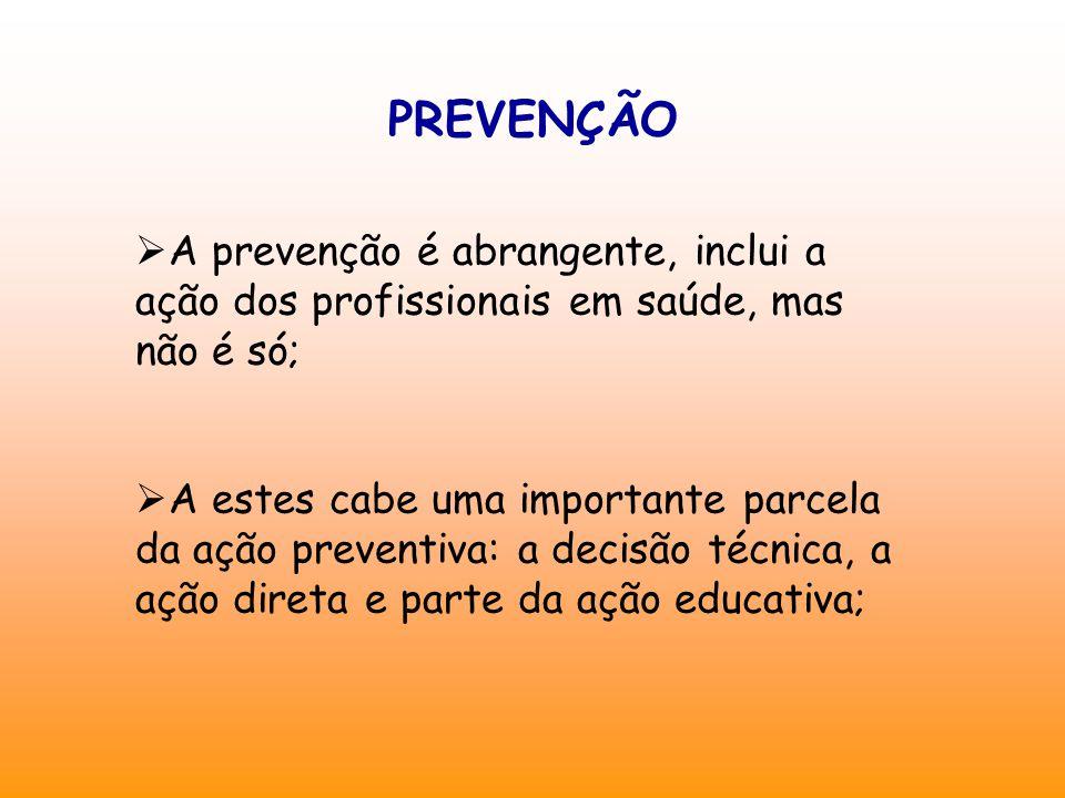 PREVENÇÃO A prevenção é abrangente, inclui a ação dos profissionais em saúde, mas não é só;
