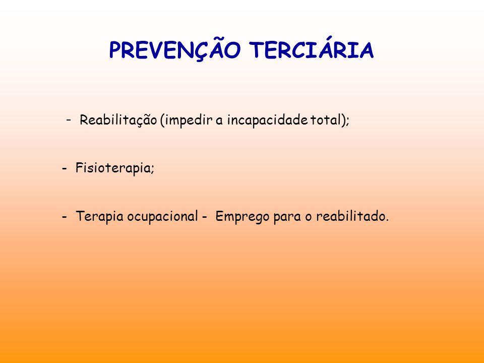 PREVENÇÃO TERCIÁRIA - Reabilitação (impedir a incapacidade total);