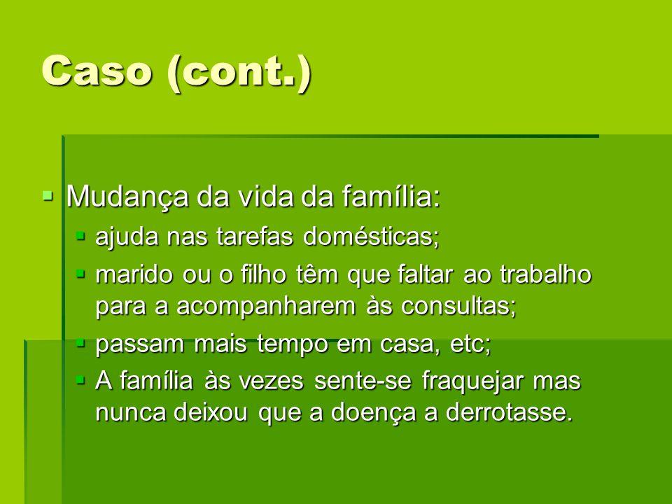 Caso (cont.) Mudança da vida da família: ajuda nas tarefas domésticas;