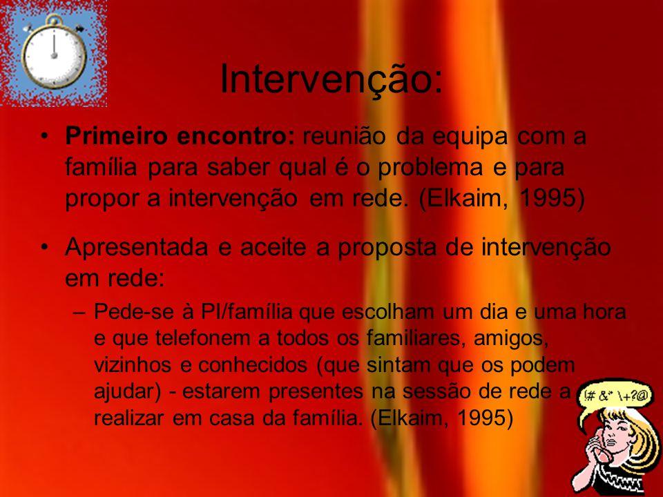 Intervenção: Primeiro encontro: reunião da equipa com a família para saber qual é o problema e para propor a intervenção em rede. (Elkaim, 1995)
