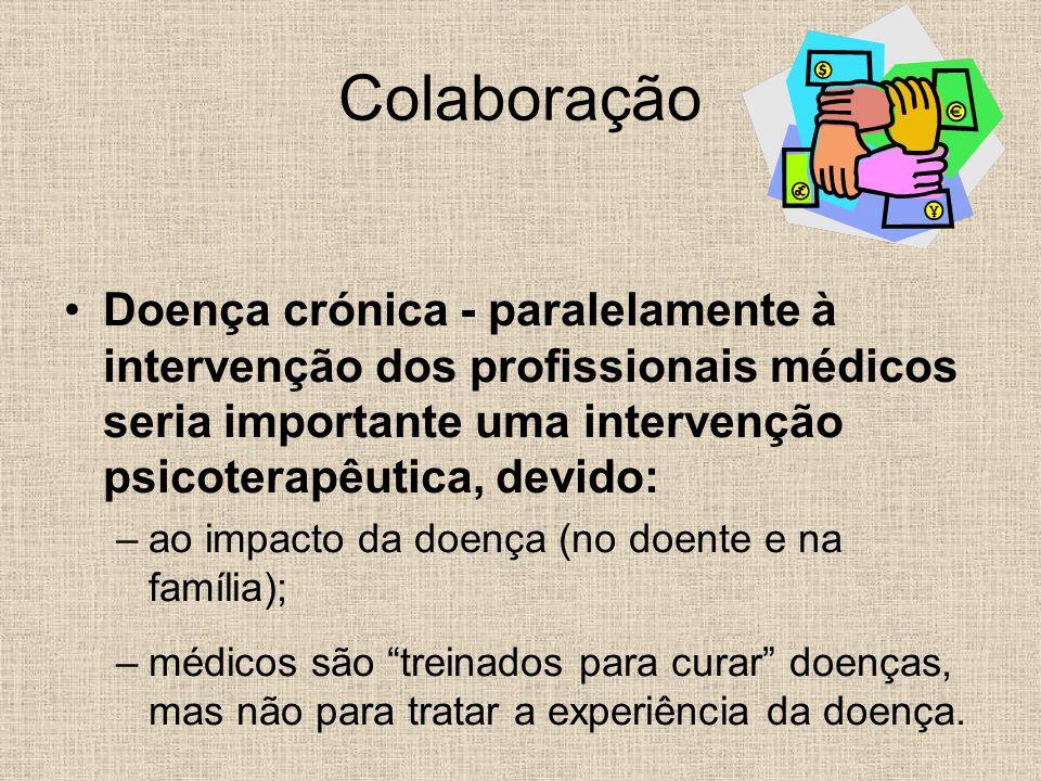 Colaboração Doença crónica - paralelamente à intervenção dos profissionais médicos seria importante uma intervenção psicoterapêutica, devido: