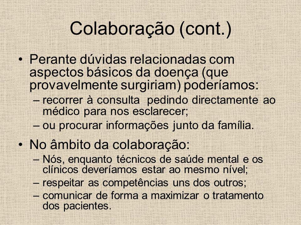 Colaboração (cont.) Perante dúvidas relacionadas com aspectos básicos da doença (que provavelmente surgiriam) poderíamos:
