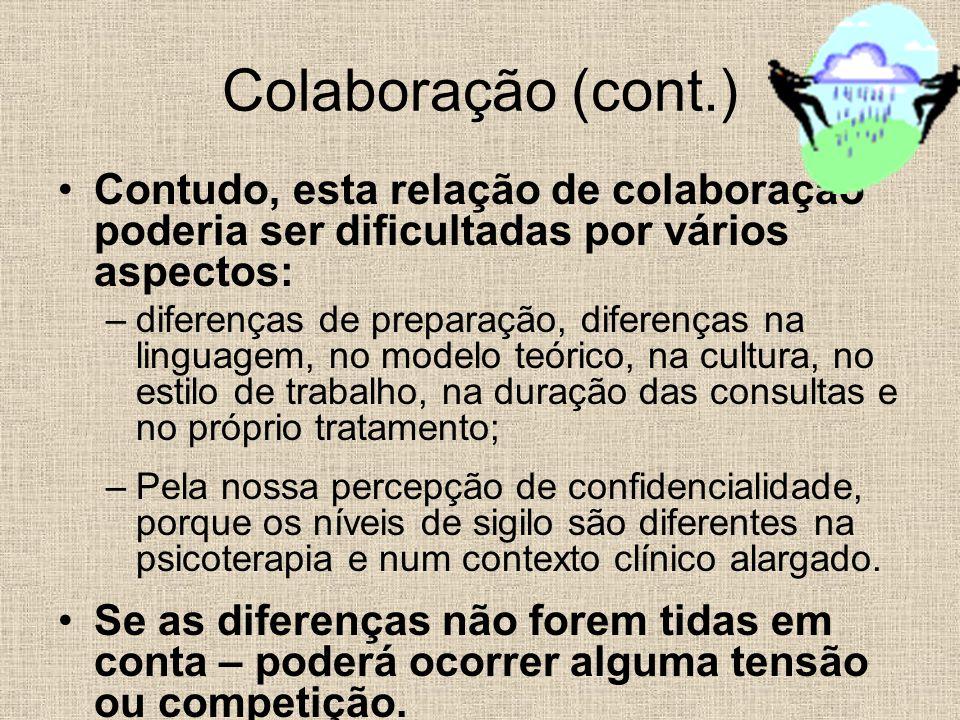 Colaboração (cont.) Contudo, esta relação de colaboração poderia ser dificultadas por vários aspectos: