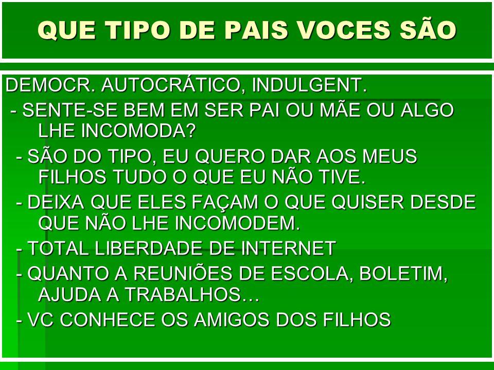 QUE TIPO DE PAIS VOCES SÃO