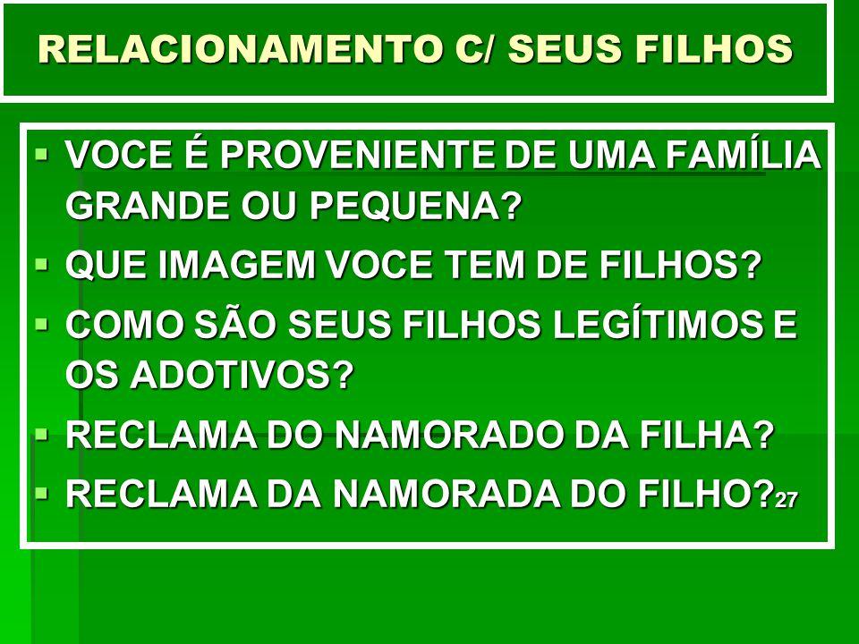 RELACIONAMENTO C/ SEUS FILHOS