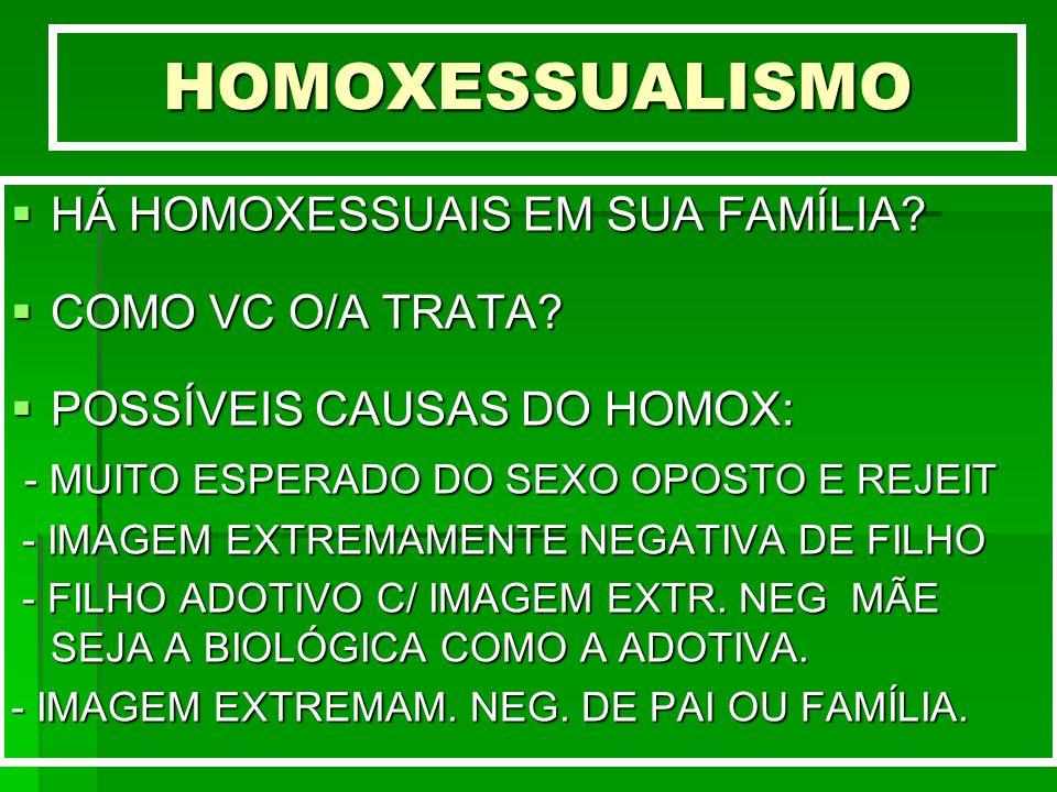 HOMOXESSUALISMO HÁ HOMOXESSUAIS EM SUA FAMÍLIA COMO VC O/A TRATA