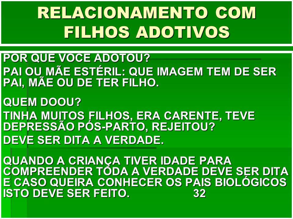 RELACIONAMENTO COM FILHOS ADOTIVOS