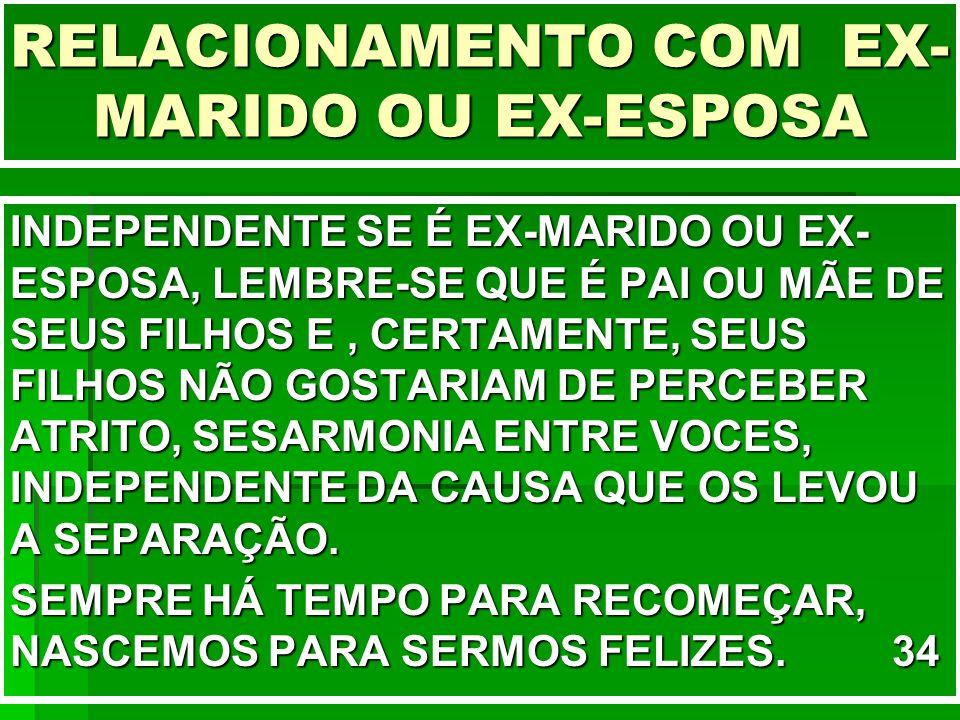 RELACIONAMENTO COM EX-MARIDO OU EX-ESPOSA
