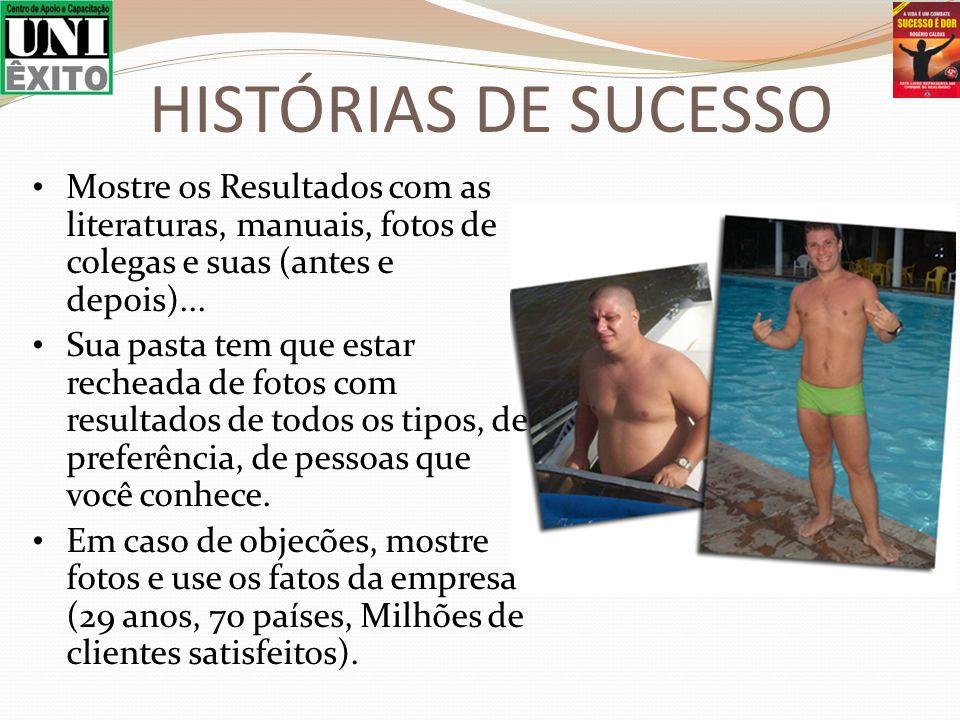 HISTÓRIAS DE SUCESSO Mostre os Resultados com as literaturas, manuais, fotos de colegas e suas (antes e depois)...