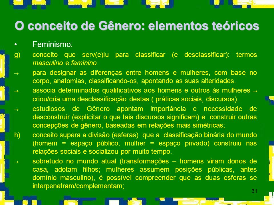 O conceito de Gênero: elementos teóricos