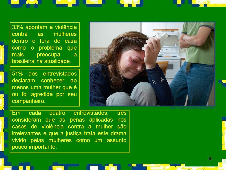 33% apontam a violência contra as mulheres dentro e fora de casa como o problema que mais preocupa a brasileira na atualidade.