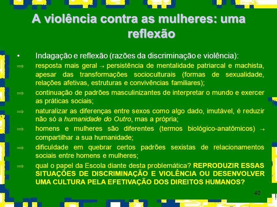 A violência contra as mulheres: uma reflexão