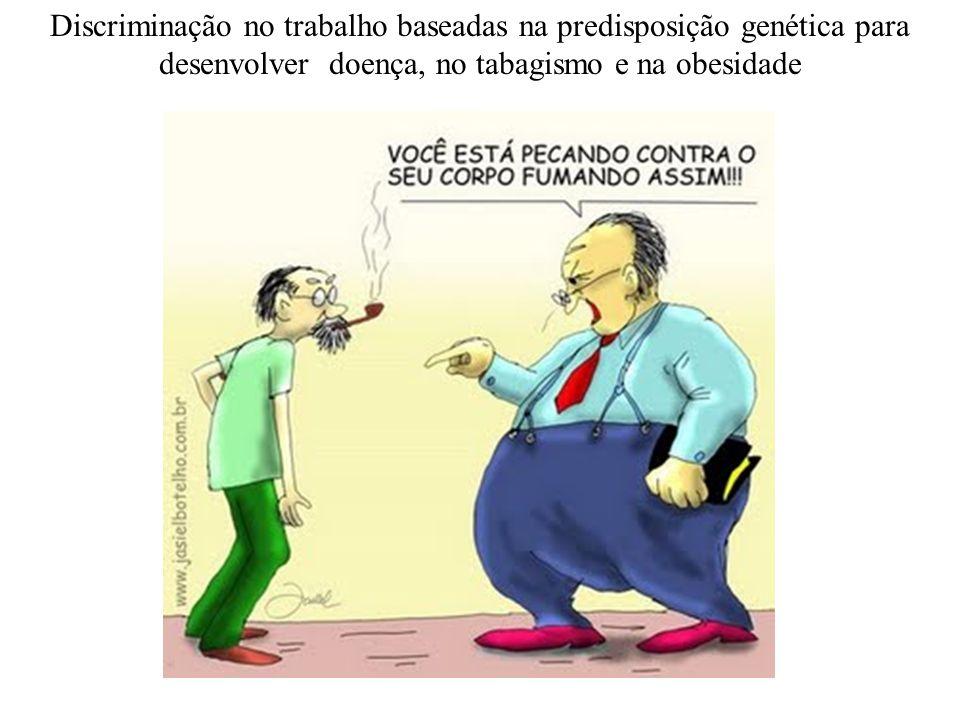 Discriminação no trabalho baseadas na predisposição genética para desenvolver doença, no tabagismo e na obesidade