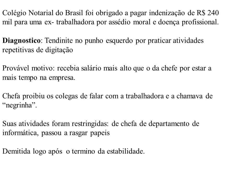 Colégio Notarial do Brasil foi obrigado a pagar indenização de R$ 240 mil para uma ex- trabalhadora por assédio moral e doença profissional.