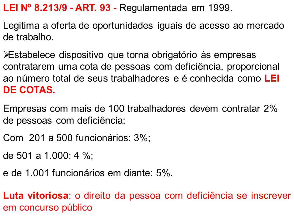 LEI Nº 8.213/9 - ART. 93 - Regulamentada em 1999.