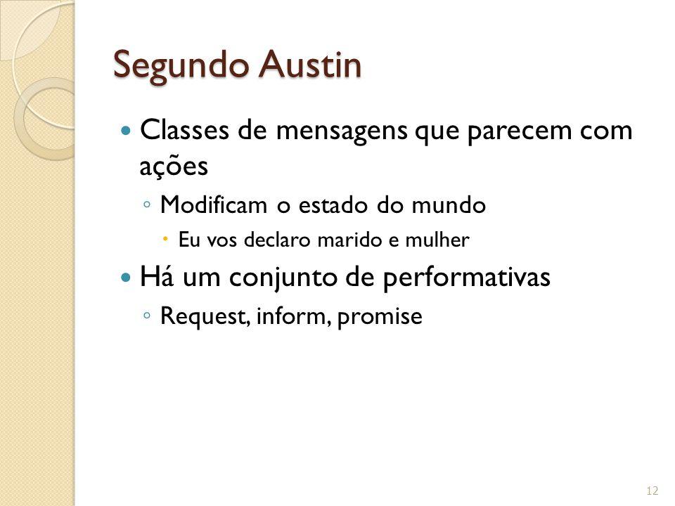 Segundo Austin Classes de mensagens que parecem com ações