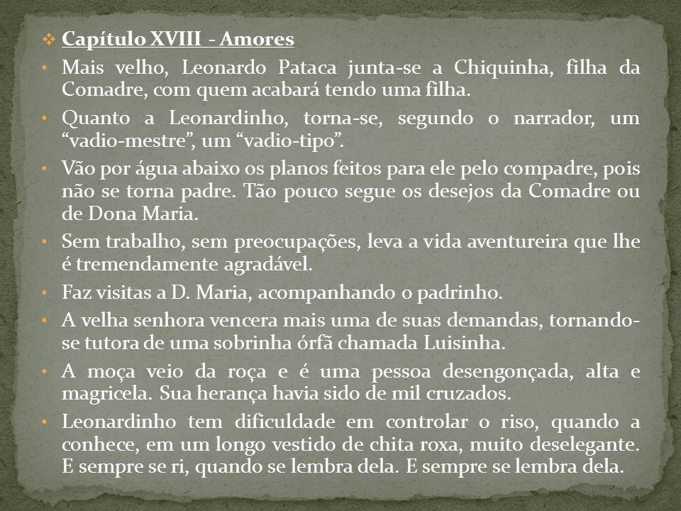Capítulo XVIII - Amores