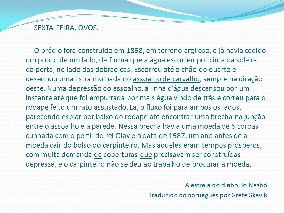 SEXTA-FEIRA. OVOS.