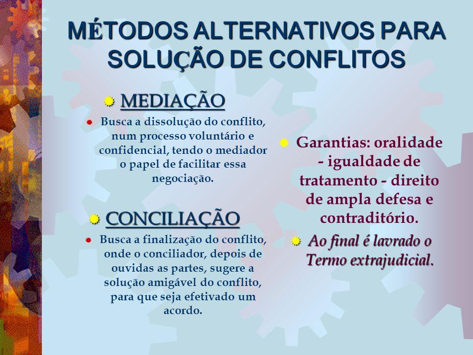 MÉTODOS ALTERNATIVOS PARA SOLUÇÃO DE CONFLITOS