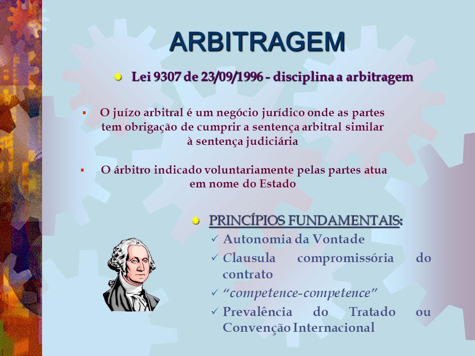 ARBITRAGEM Lei 9307 de 23/09/1996 - disciplina a arbitragem