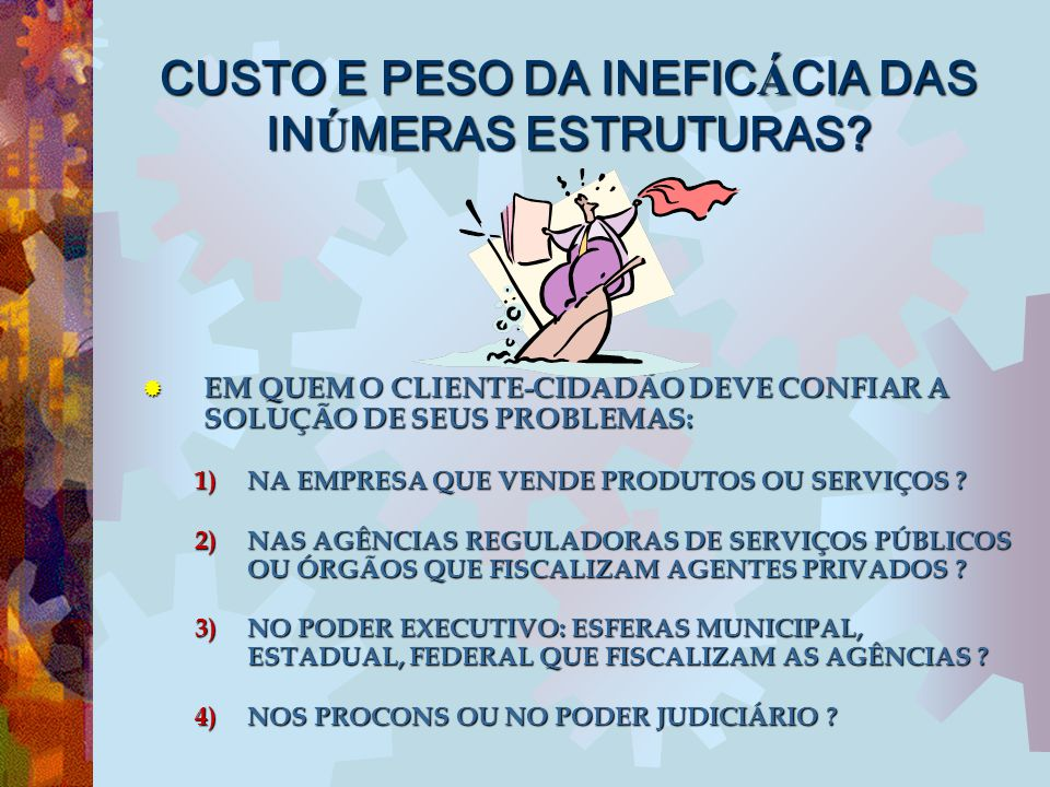 CUSTO E PESO DA INEFICÁCIA DAS INÚMERAS ESTRUTURAS