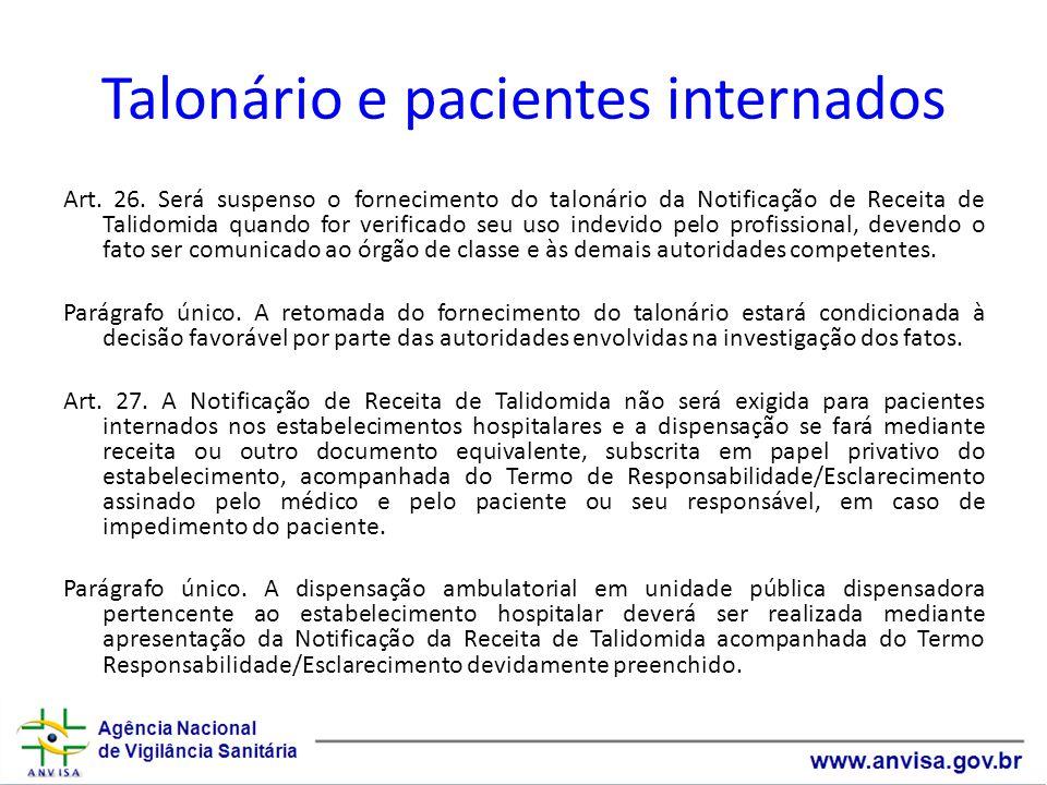 Talonário e pacientes internados