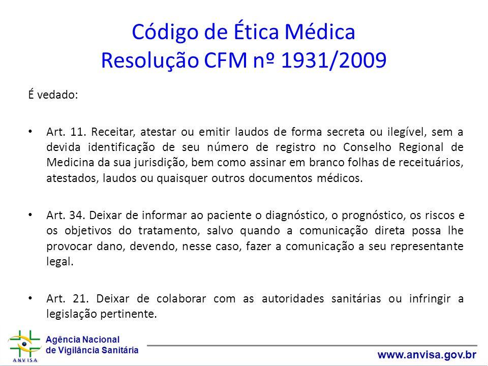Código de Ética Médica Resolução CFM nº 1931/2009
