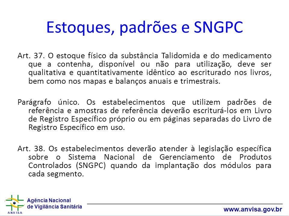 Estoques, padrões e SNGPC