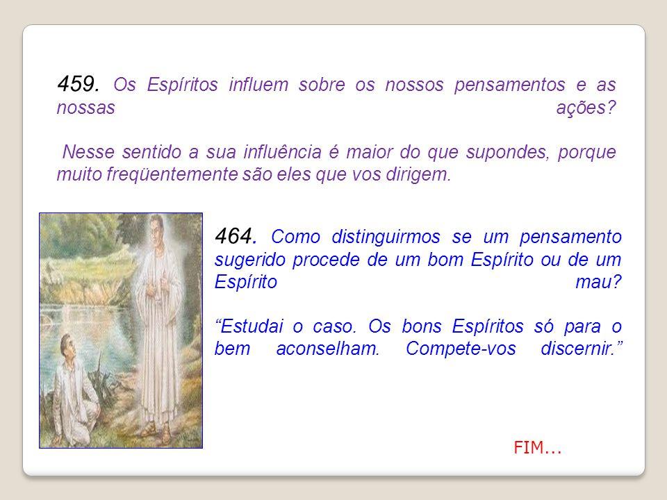 459. Os Espíritos influem sobre os nossos pensamentos e as nossas ações