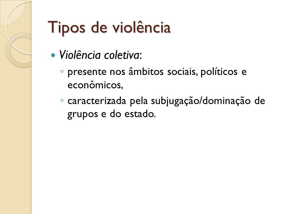 Tipos de violência Violência coletiva: