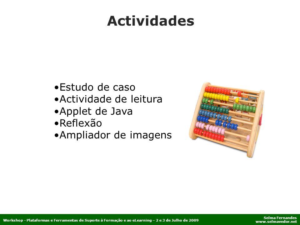 Actividades Estudo de caso Actividade de leitura Applet de Java