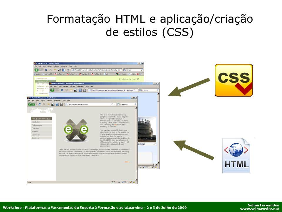 Formatação HTML e aplicação/criação de estilos (CSS)