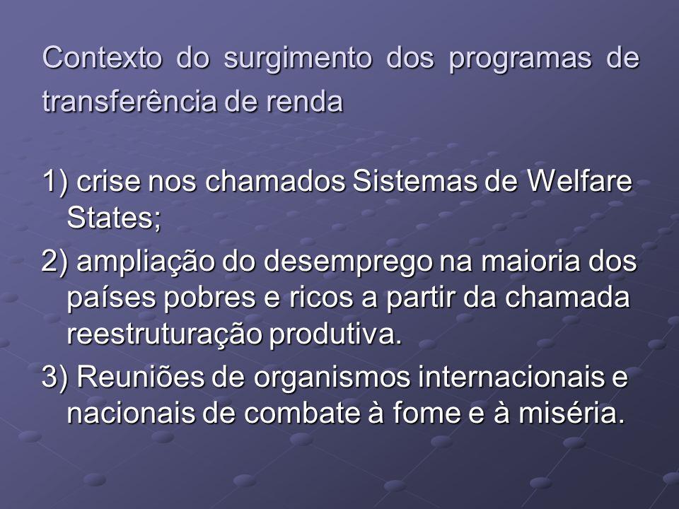 Contexto do surgimento dos programas de transferência de renda