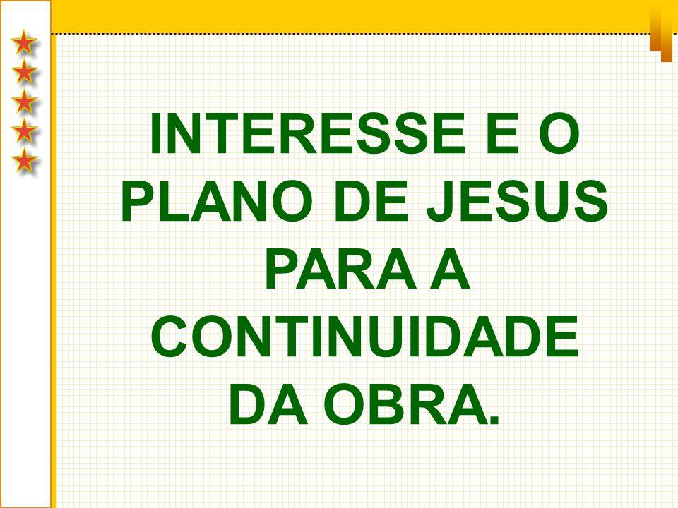 INTERESSE E O PLANO DE JESUS PARA A CONTINUIDADE