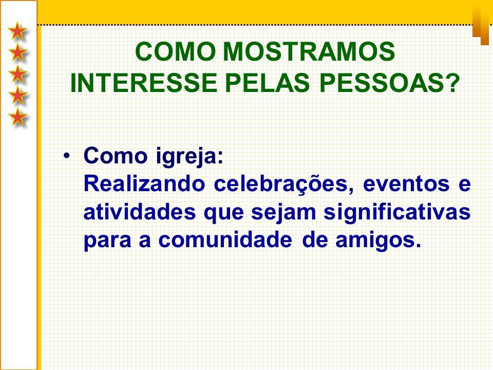 COMO MOSTRAMOS INTERESSE PELAS PESSOAS