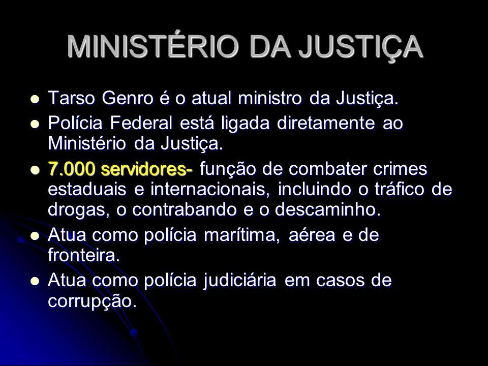 MINISTÉRIO DA JUSTIÇA Tarso Genro é o atual ministro da Justiça.