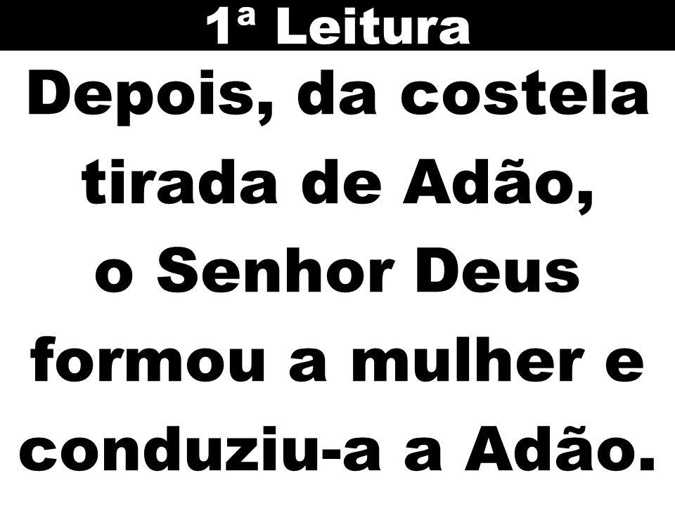 1ª Leitura Depois, da costela tirada de Adão, o Senhor Deus formou a mulher e conduziu-a a Adão.
