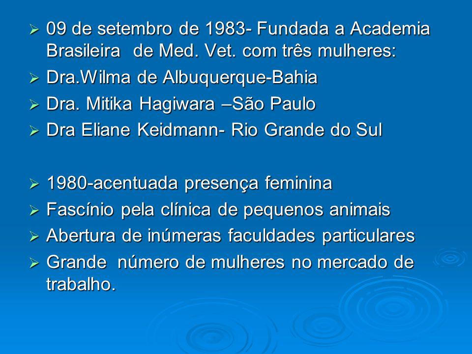 09 de setembro de 1983- Fundada a Academia Brasileira de Med. Vet