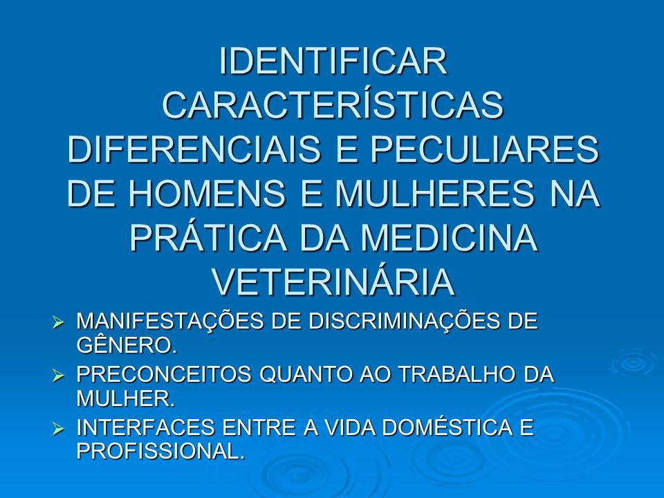 IDENTIFICAR CARACTERÍSTICAS DIFERENCIAIS E PECULIARES DE HOMENS E MULHERES NA PRÁTICA DA MEDICINA VETERINÁRIA