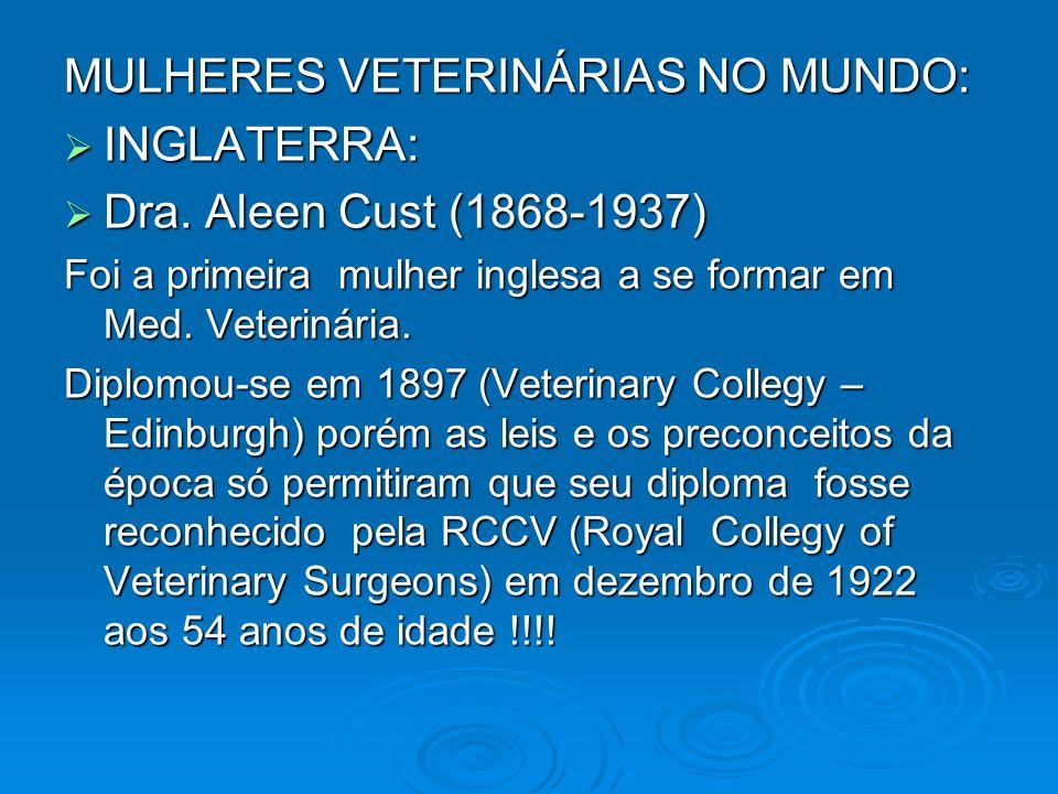 MULHERES VETERINÁRIAS NO MUNDO: INGLATERRA: