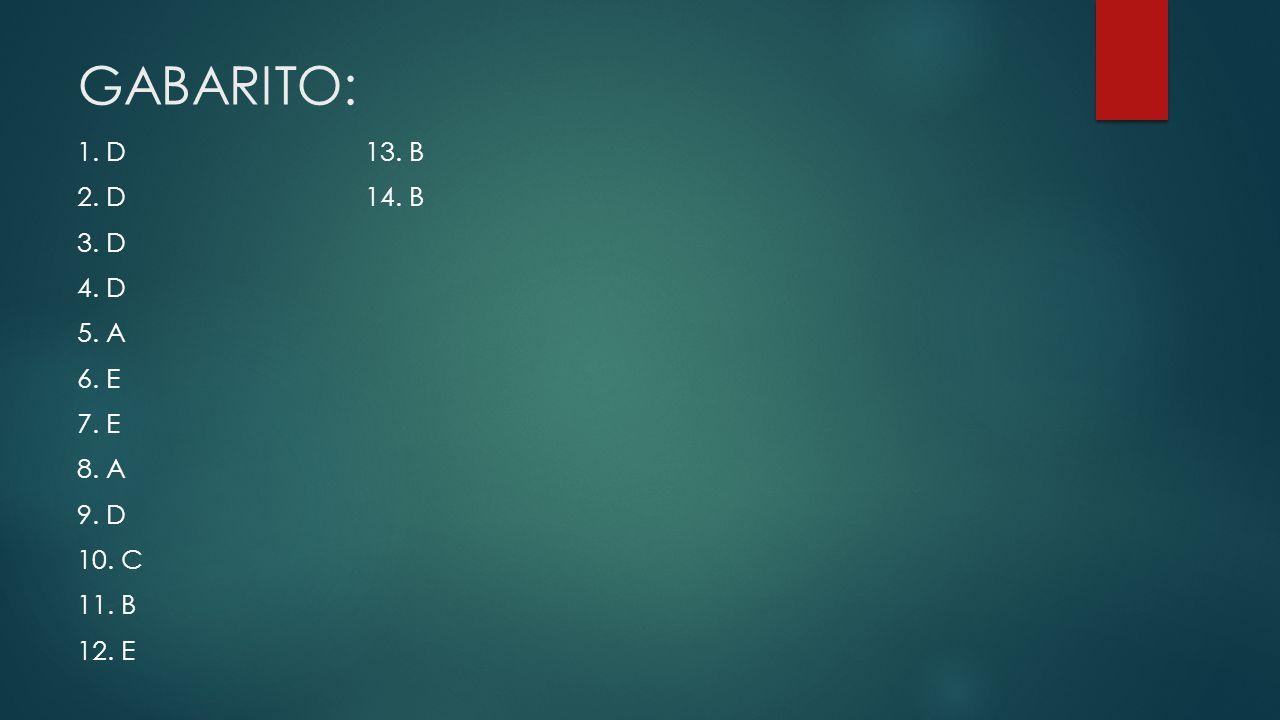 GABARITO: 1. D 13. B 2. D 14. B 3. D 4. D 5. A 6. E 7. E 8. A 9. D 10. C 11. B 12. E