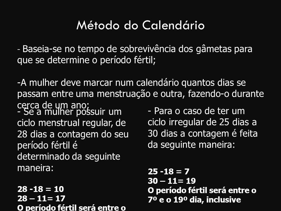 Método do Calendário - Baseia-se no tempo de sobrevivência dos gâmetas para que se determine o período fértil;