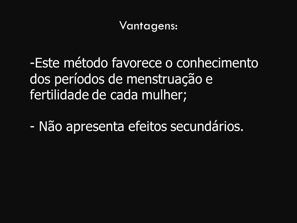 Vantagens: Este método favorece o conhecimento dos períodos de menstruação e fertilidade de cada mulher;
