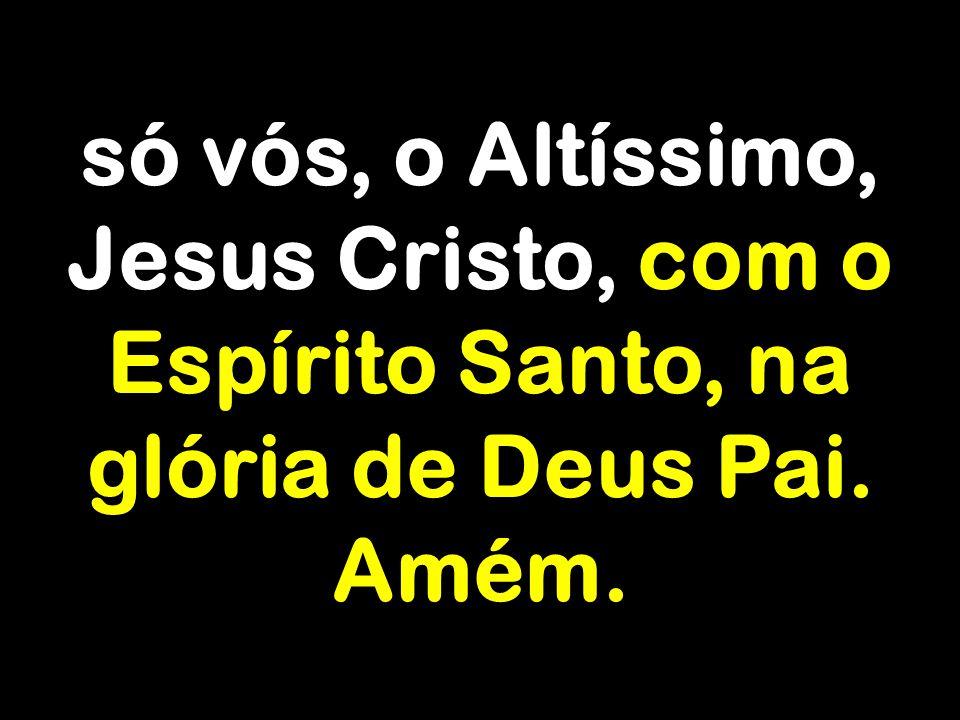 só vós, o Altíssimo, Jesus Cristo, com o Espírito Santo, na glória de Deus Pai. Amém.