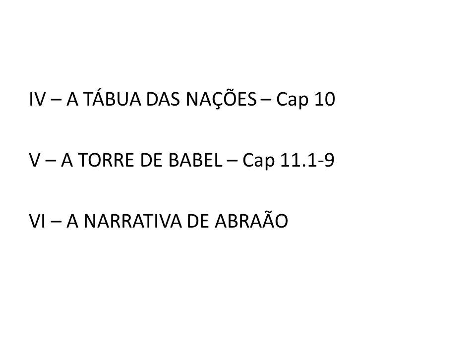 IV – A TÁBUA DAS NAÇÕES – Cap 10 V – A TORRE DE BABEL – Cap 11
