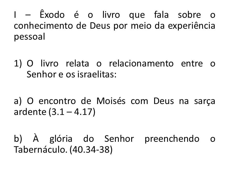 I – Êxodo é o livro que fala sobre o conhecimento de Deus por meio da experiência pessoal
