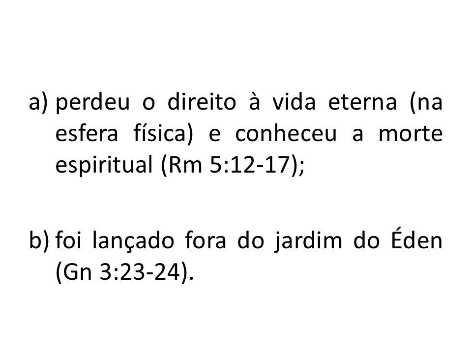 perdeu o direito à vida eterna (na esfera física) e conheceu a morte espiritual (Rm 5:12-17);