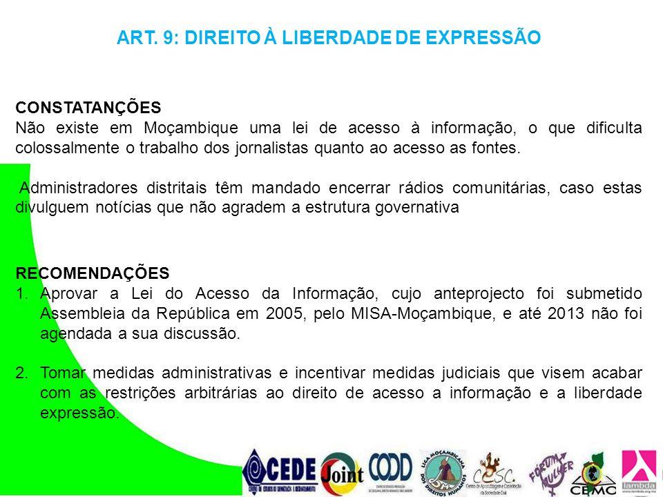 ART. 9: DIREITO À LIBERDADE DE EXPRESSÃO