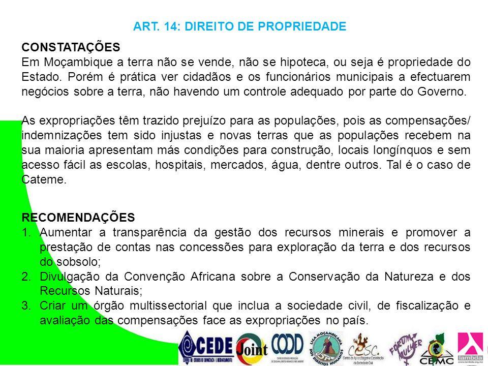 ART. 14: DIREITO DE PROPRIEDADE